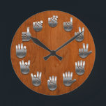"""Sign Language -Woodgrain Round Clock<br><div class=""""desc"""">An American Sign Language clock,  with faux metallic hands on a faux wood grain backing.</div>"""