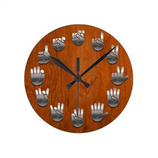 Sign Language -Woodgrain Round Clock