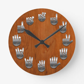 Sign Language -Woodgrain Round Wall Clock