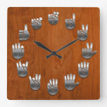 Sign Language -Woodgrain Square Wall Clock
