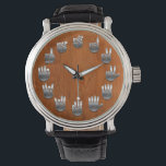 """Sign Language -Woodgrain Wrist Watch<br><div class=""""desc"""">An American Sign Language watch,  with faux metallic hands on a faux wood grain backing.</div>"""