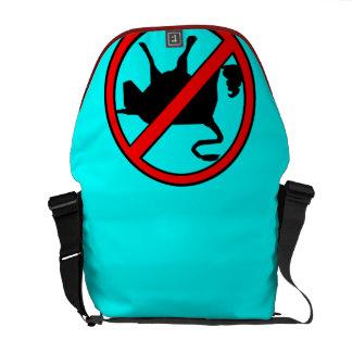 Sign No Bullshit- Black Red Light Blue Courier Bags