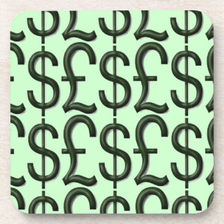 Sign of Money Green Square Coaster