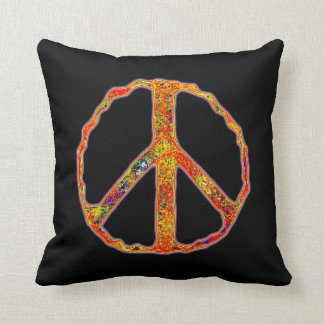 Sign of Peace ~ Psychedelic Throw Pillow