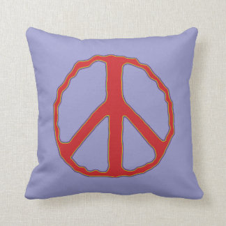 Sign of Peace ~ Red & Blue Throw Pillow