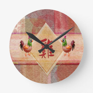 Sign of the Rooster in Red, Felt Look Roosters on Round Clock