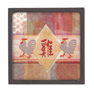 Sign of the Rooster in Red, Lavender Roosters, Fel Jewelry Box
