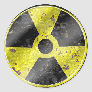 Sign of the times - fallout nuke radiation classic round sticker