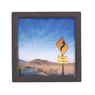 Sign on the death valley road in sunset premium trinket box