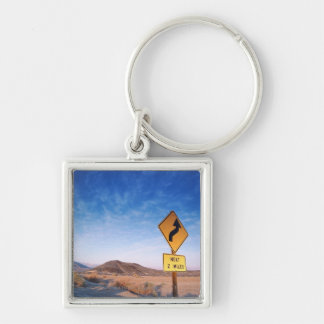 Sign on the death valley road in sunset Silver-Colored square keychain