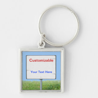 Sign on the Grass Silver-Colored Square Keychain