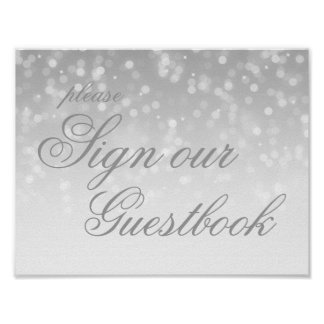 Sign Our Wedding Guestbook Silver Bokeh Lights