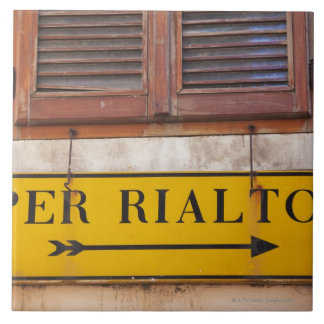 Sign pointing the way to the Rialto Bridge, Ceramic Tile