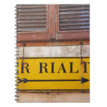 Sign pointing the way to the Rialto Bridge, Spiral Note Book