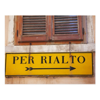 Sign pointing the way to the Rialto Bridge, Postcard
