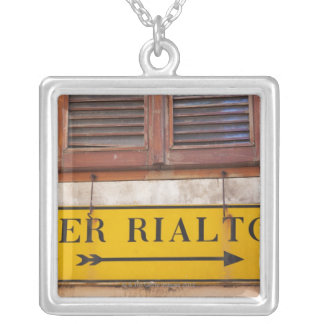 Sign pointing the way to the Rialto Bridge, Silver Plated Necklace