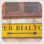 Sign pointing the way to the Rialto Bridge, Square Stickers