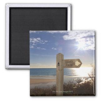 Sign post for coast path near beach, Gerrans Magnet