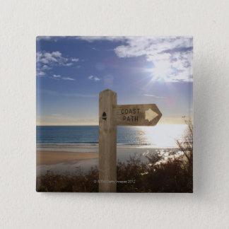 Sign post for coast path near beach, Gerrans Pinback Button