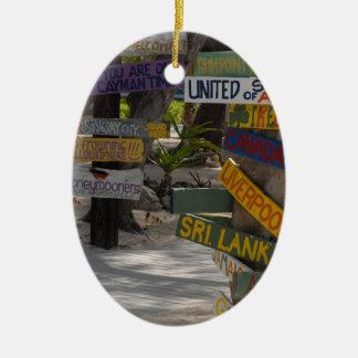 Sign Post Rum Point Grand Cayman Ceramic Ornament
