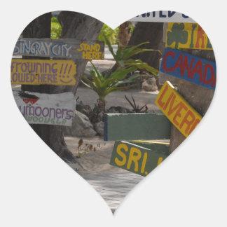 Sign Post Rum Point Grand Cayman Heart Sticker