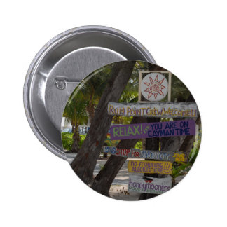 Sign post Rum Point Grand Cayman Pinback Button