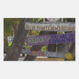 Sign post Rum Point Grand Cayman Rectangular Sticker
