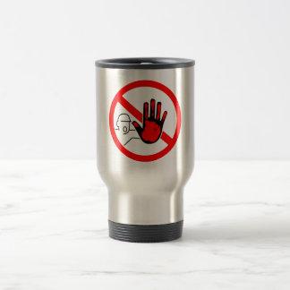 sign stop trespassing hand blood travel mug