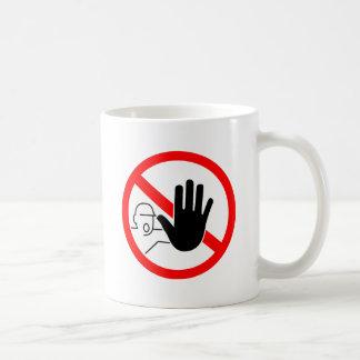 sign stop trespassing hand coffee mug