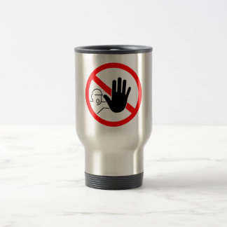 sign stop trespassing hand travel mug