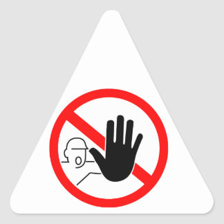 sign stop trespassing hand triangle sticker