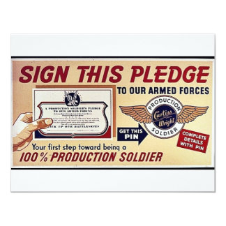 Sign This Pledge To Our Armed Forces 4.25x5.5 Paper Invitation Card