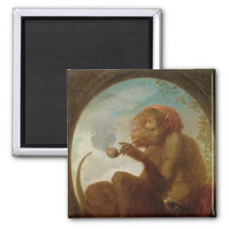 Sign with a monkey smoking a pipe magnet