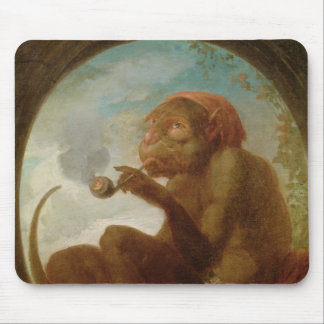 Sign with a monkey smoking a pipe mouse pad