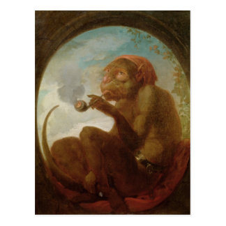 Sign with a monkey smoking a pipe post card