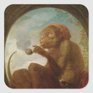 Sign with a monkey smoking a pipe square sticker