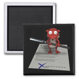 Sign Your Soul To The Devil 2 Inch Square Magnet