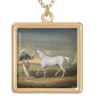 Signal, a grey Arab, with a Groom in the Desert (o Gold Plated Necklace