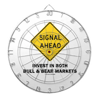 Signal Ahead (Sign) Invest Both Bull Bear Markets Dartboard With Darts