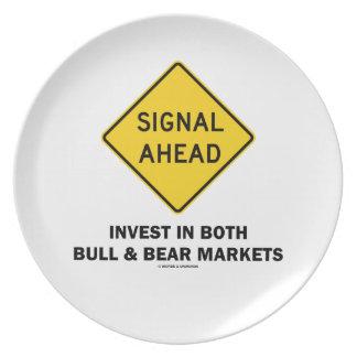 Signal Ahead (Sign) Invest Both Bull Bear Markets Plates