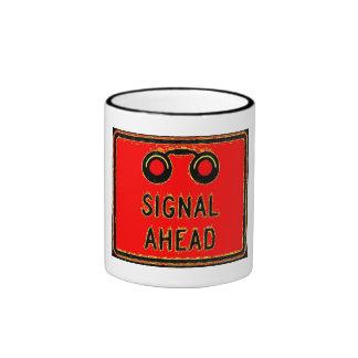 Signal Ahead Sign Ringer Coffee Mug