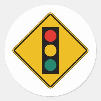 Signal Ahead, Traffic Warning Sign, USA Classic Round Sticker