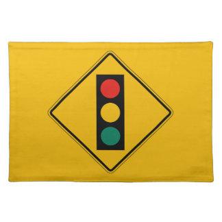 Signal Ahead, Traffic Warning Sign, USA Cloth Place Mat