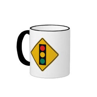 Signal Ahead, Traffic Warning Sign, USA Ringer Coffee Mug