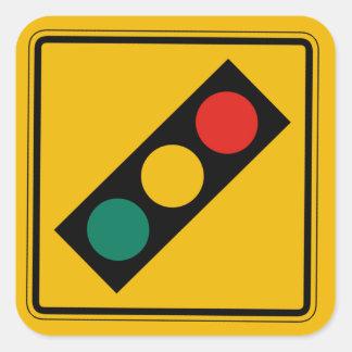 Signal Ahead, Traffic Warning Sign, USA Square Sticker