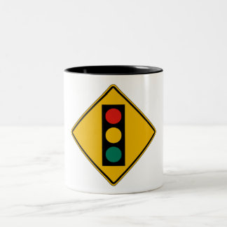 Signal Ahead, Traffic Warning Sign, USA Two-Tone Coffee Mug