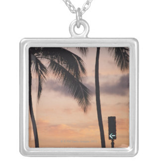 Signal and Palm Tree Silver Plated Necklace
