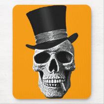 skull, art, cool, vintage, signal hat, dead, goth, cigar, tee-shirt, tendency, odd, funny, fun, class, design, bones, vintage, history, Mouse pad com design gráfico personalizado