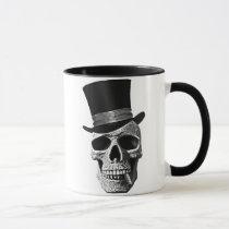 skull, urban, art, cool, vintage, signal hat, dead, goth, cigar, tendency, odd, funny, fun, class, design, bones, vintage, history, Caneca com design gráfico personalizado