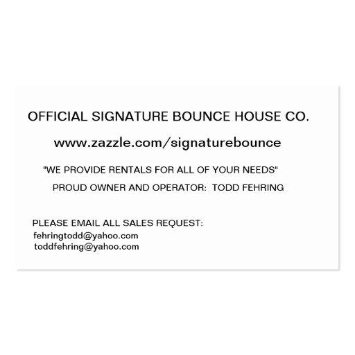 SIGNATURE BOUNCE HOUSE COMPANY BUSINESS CARD